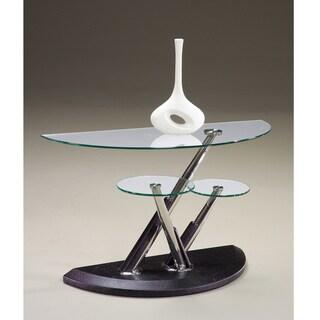 Modesto Metal and Glass Half Moon Sofa Table