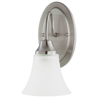 Holman 1 Light Brushed Nickel Wall/Bath Sconce With Satin Etched Glass