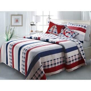 Greenland Home Fashions Nautical Stripes 5-piece Bonus Quilt Set