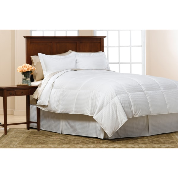 White Damask Stripe Heavyweight 525-Fill Power Down Comforter