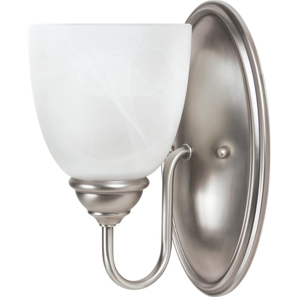 Shop Lemont 1 Light Antique Brushed Nickel Wall Bath Sconce With White Alabaster Glass Free