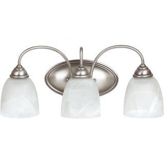 Lemont 3-light Antique Brushed Nickel Wall/Bath Vanity with White Alabaster Glass
