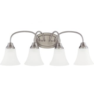 Holman Multidirectional 4-Light Brushed-Nickel Wall/Bath Vanity with Satin Etched Glass