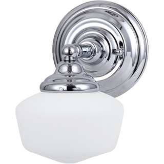 Academy 1-light Chrome Wall Sconce with Satin White Schoolhouse Glass