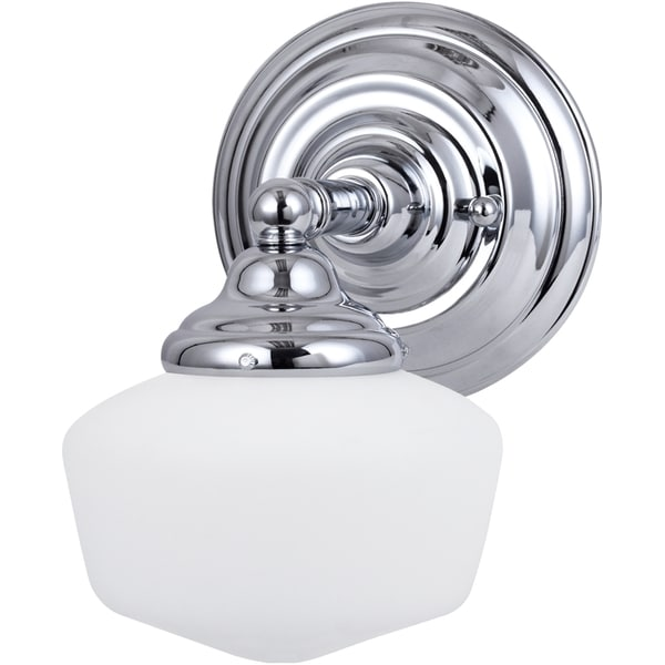 Schoolhouse Lighting Home Depot: Shop Academy 1-light Chrome Wall Sconce With Satin White