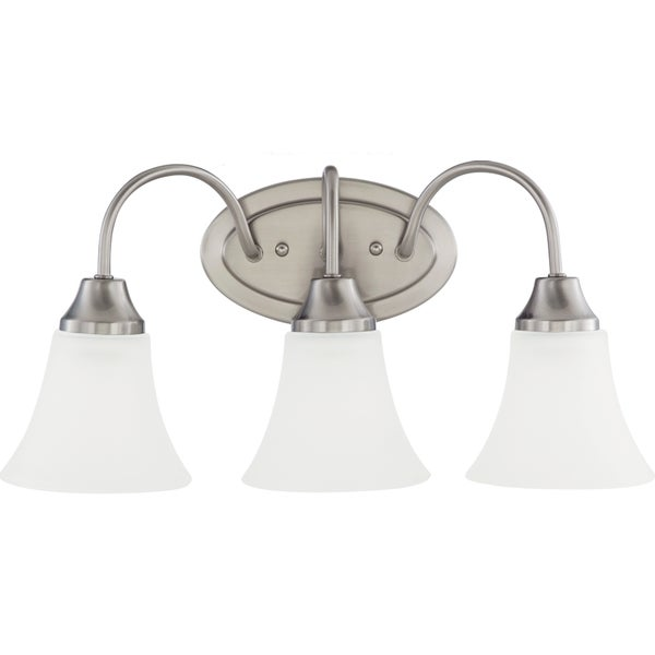 Shop holman 3 light brushed nickel wall bath vanity with satin etched glass free shipping for Bathroom vanity tray satin nickel