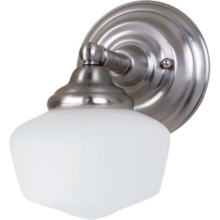 Academy 1-light Heirloom Nickel Wall Sconce with Satin White Schoolhouse Glass