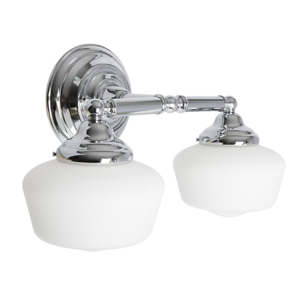 Academy 2 Light Chrome Wall/Bath Vanity With Satin White Schoolhouse Glass