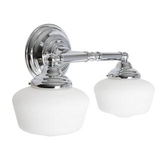 Academy 2-light Chrome Wall/Bath Vanity with Satin White Schoolhouse Glass