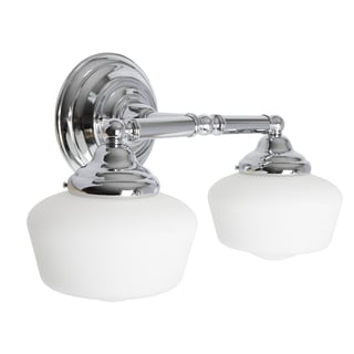 Great Academy 2 Light Chrome Wall/Bath Vanity With Satin White Schoolhouse Glass