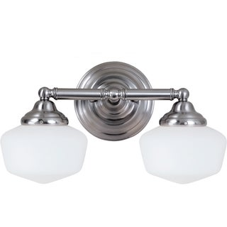 Academy 2-light Brushed Nickel Wall/Bath Vanity with Satin White Schoolhouse Glass