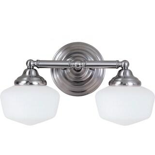 Academy Brushed Nickel 2-Light Vanity Fixture