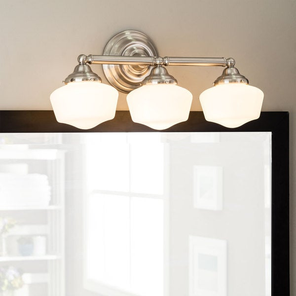Shop Academy 3-light Brushed Nickel Vanity Fixture with Satin White ...
