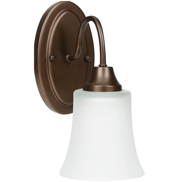 Shop holman 1 light bell metal bronze wall bath sconce with satin etched glass free shipping for One light bathroom wall sconce