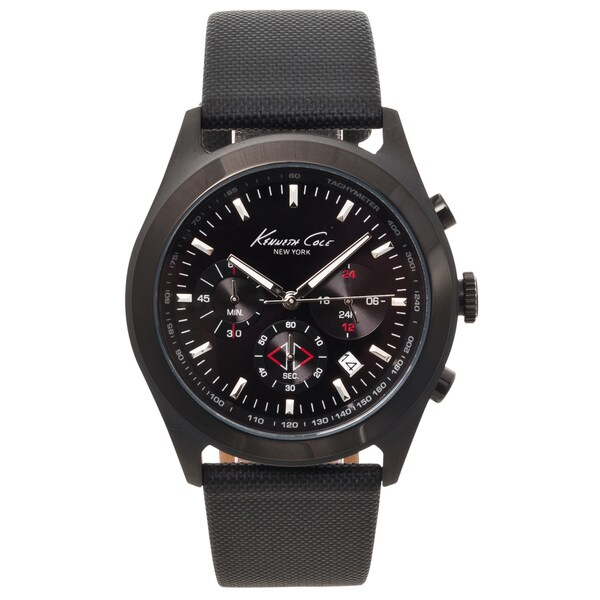 Kenneth Cole New York Men's Black Leather Strap Chronograph Watch
