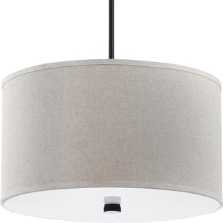 Dayna 3-light Burnt Sienna Shade Pendant with Round Linen Shade