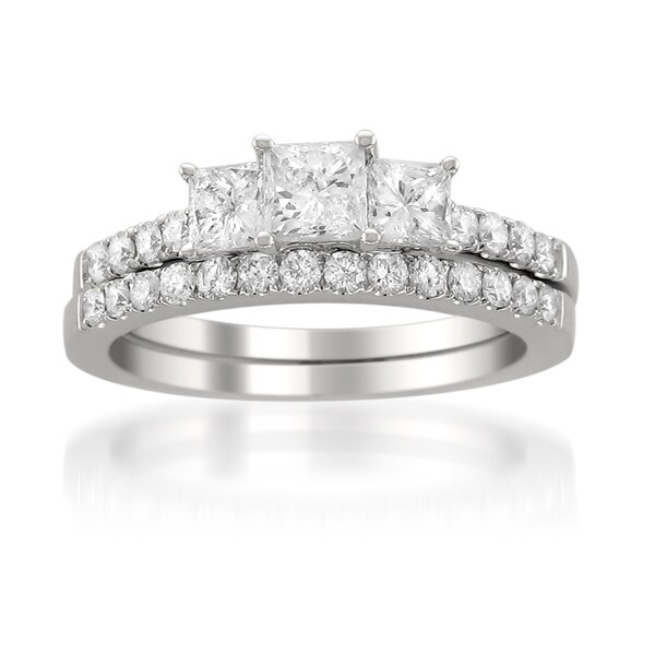 Montebello 14k White Gold 1 1/2ct TDW Princess Diamond Bridal Ring Set (G-H, I1)
