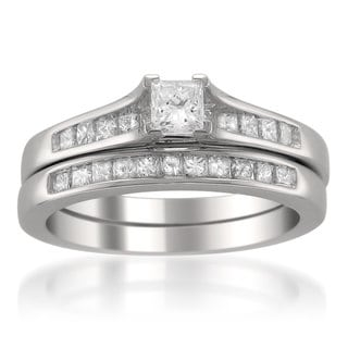 Montebello 14k White Gold 7/8ct TDW Princess-cut Diamond Bridal Ring Set