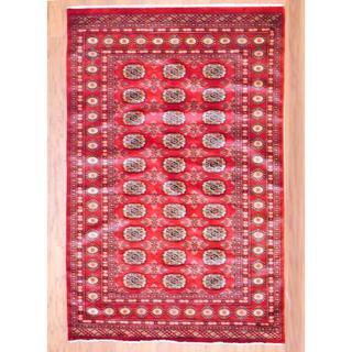 Herat Oriental Afghan Hand-knotted Bohkara Red/ Ivory Wool Rug (7'2 x 9'11)