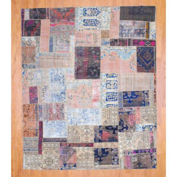 Handmade Herat Oriental Pak Persian Patchwork Wool Rug - 7'8 x 9'5 (Iran)