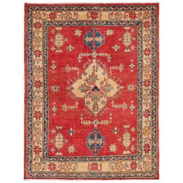 Afghan Hand-knotted Kazak Red/ Beige Wool Rug (3'8 x 4'2)