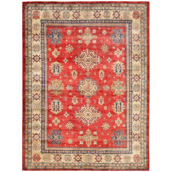 Afghan Hand-knotted Kazak Red/ Beige Wool Rug (9' x 11'8)