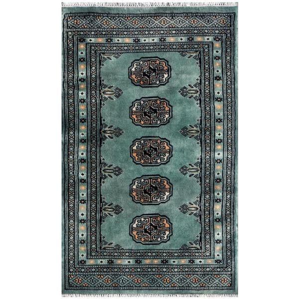 Shop Pakistani Hand-knotted Bokhara Teal/ Ivory Wool Rug