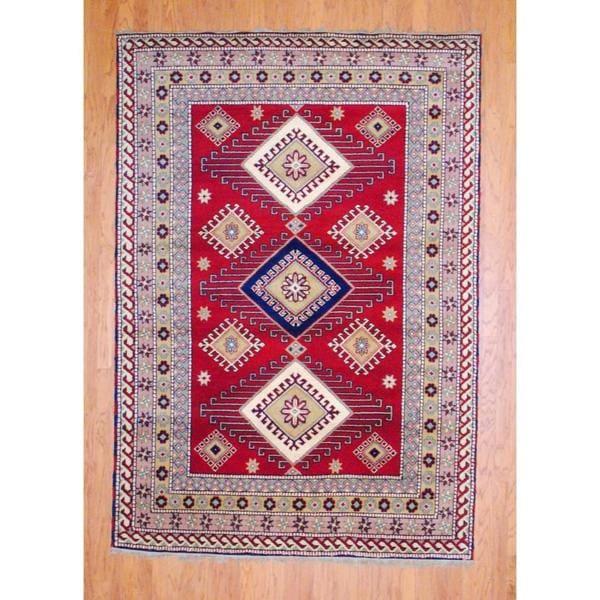 Herat Oriental Indo Hand-knotted Kazak Wool Rug (4' x 6')