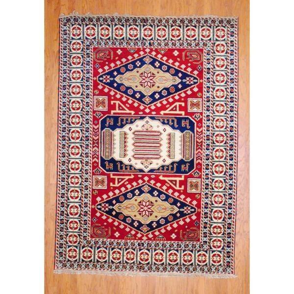 Herat Oriental Indo Hand-knotted Kazak Red/ Navy Wool Rug (4' x 6')