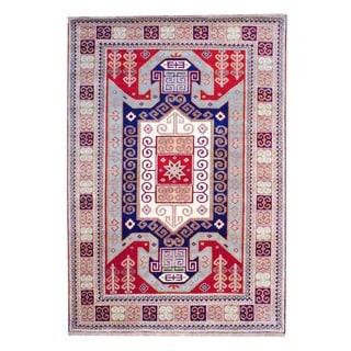 Herat Oriental Indo Hand-knotted Kazak Red/ Salmon Wool Rug ( 4' x 6')