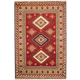 Herat Oriental Indo Hand-knotted Red/ Salmon Kazak Wool Rug (3' x 5') (India)