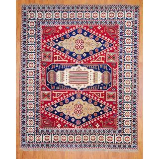 Indo Hand-knotted 6 x 9-foot Red/ Navy Kazak Wool Rug (India)