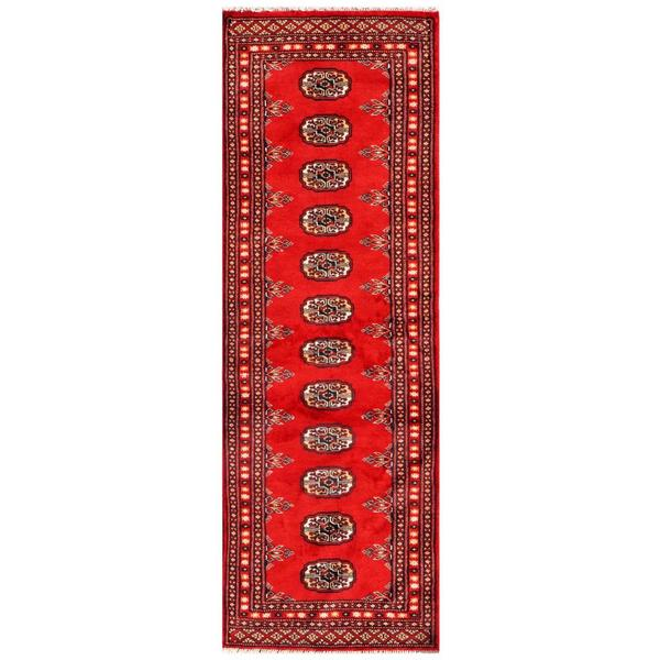Traditional Pakistani Hand-Knotted Bokhara Red/Ivory Wool Rug (2' x 6')