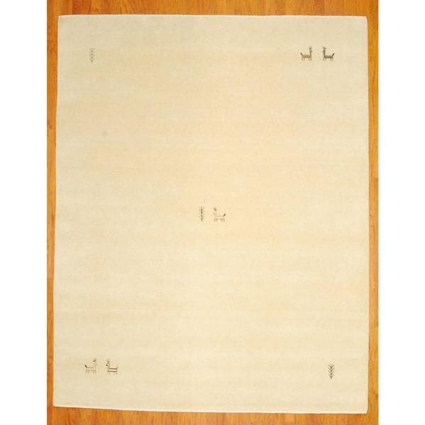 Herat Oriental Indo Hand-knotted White/ Black Gabbeh Wool Rug (6' x 9')