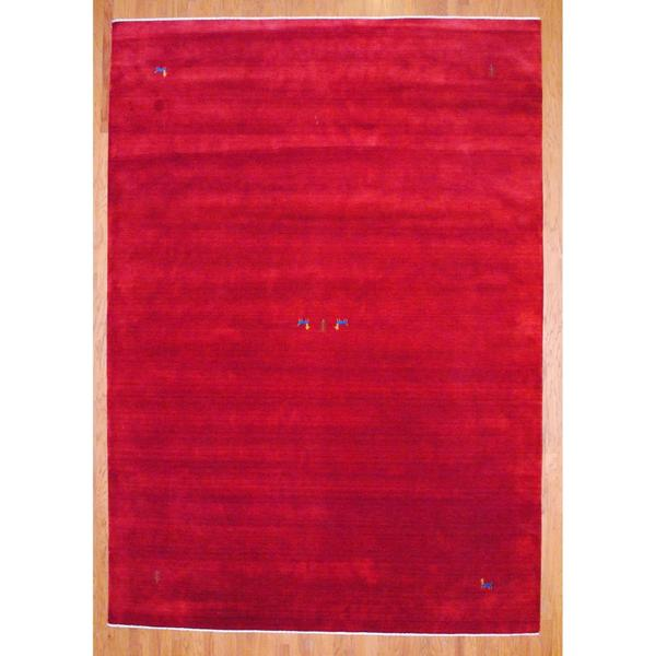 Shop Herat Oriental Indo Hand-knotted Red/ Blue Gabbeh