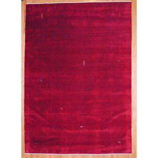 Herat Oriental Indo Hand-knotted Dark Red/ Orange Gabbeh Wool Rug (8' x 10')