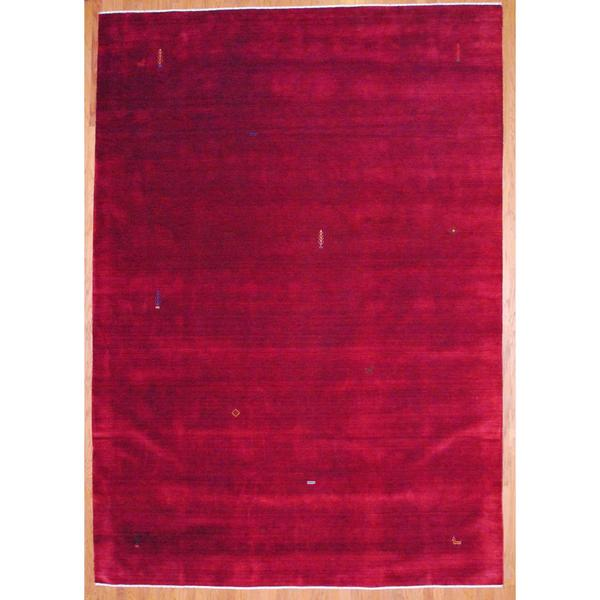 Indo Hand-knotted Dark Red/ Orange Gabbeh Wool Rug (4' x 6')