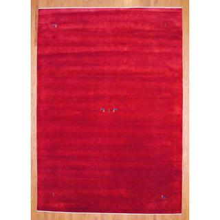 Herat Oriental Indo Hand-knotted Red/ Blue Gabbeh Wool Rug (6' x 9')
