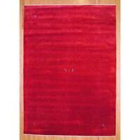 Handmade Herat Oriental Indo Red/ Blue Gabbeh Wool Rug - 6' x 9' (India)