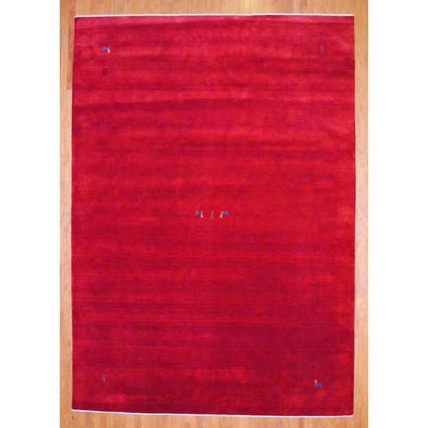 Herat Oriental Hand Tufted Wool Red Black Area Rug: Herat Oriental Indo Hand-knotted Red/ Blue Gabbeh Wool Rug