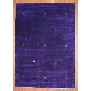 Herat Oriental Indo Hand-knotted Purple/ Red Gabbeh Wool Rug (6' x 9')