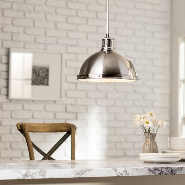pratt street metal 2light brushed nickel pendant with glass diffuser