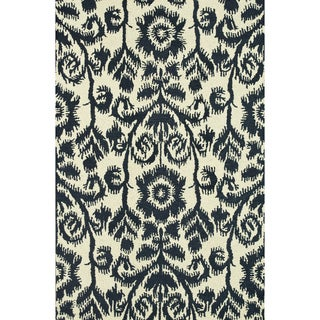 Hand-Tufted Meadow Navy Wool Rug (9'3 x 13)