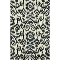 Hand-Tufted Meadow Navy Wool Rug (3'6 x 5'6)