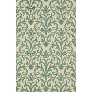 Hand-Tufted Meadow Ivory/ Lt. Blue Wool Rug (7'10 x 11'0)