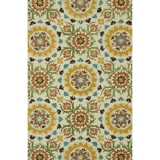 Hand-Tufted Meadow Ivory/ Green Wool Rug (5'0 x 7'6)