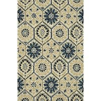 Hand-Tufted Meadow Ivory/ Navy Wool Rug - 3'6 x 5'6