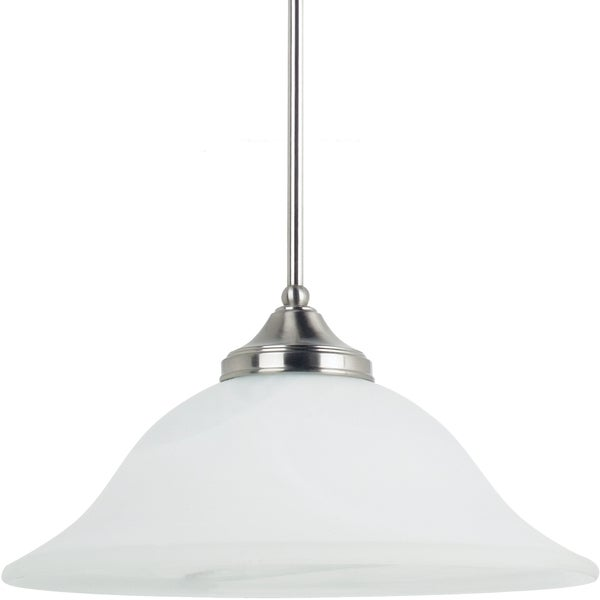 brockton 1 light brushed nickel downlight pendant with white alabaster