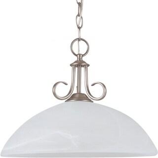 Lemont 1-light Antique Brushed Nickel Downlight Pendant with White Alabaster Glass
