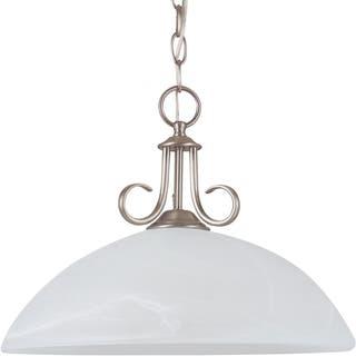 Buy alabaster pendant lighting online at overstock our best lemont 1 light antique brushed nickel downlight pendant with white alabaster glass aloadofball Image collections